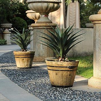 Amazon Com Hearns 2 Piece Mgo Barrel Planter Set Garden Outdoor