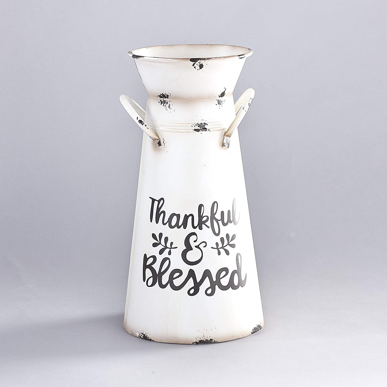 The Lakeside Collection Tin Harvest Milk Can Flower Vase for Farmhouse Indoor Home Decor