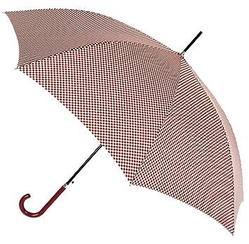 Chic y Estiloso Paraguas Largo de Mujer Tejido Estampado Cuadros Vichy. Paraguas automático Vogue, antiviento y con Acabado Teflón Que repele el Agua.