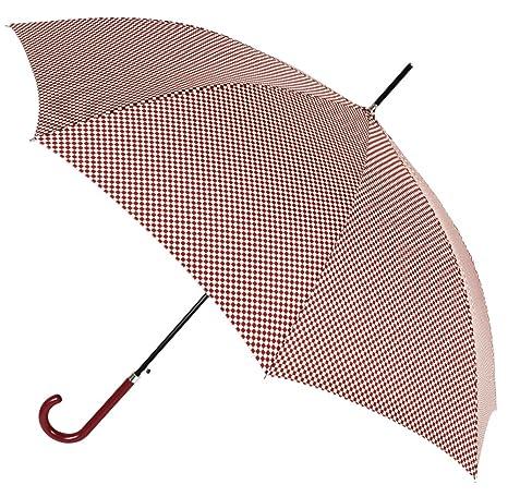 Chic y Estiloso Paraguas Largo de Mujer Tejido Estampado Cuadros Vichy. Paraguas automático Vogue,