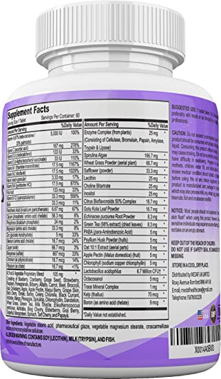Amazon.com: Lifes Vitality Essential Vitamins And Mineral Supplements With 42 Fruit And Vegetable With Vitamins A B C D E K Folic Acid Biotin Calcium ...