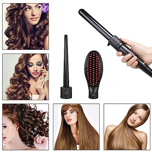 Tenacilla para rizar Acevivi. Rizador de pelo 3 en 1, de cerámica con barriles intercambiables y cepillo para alisar el pelo. Tenacilla rizadora con guantes ...