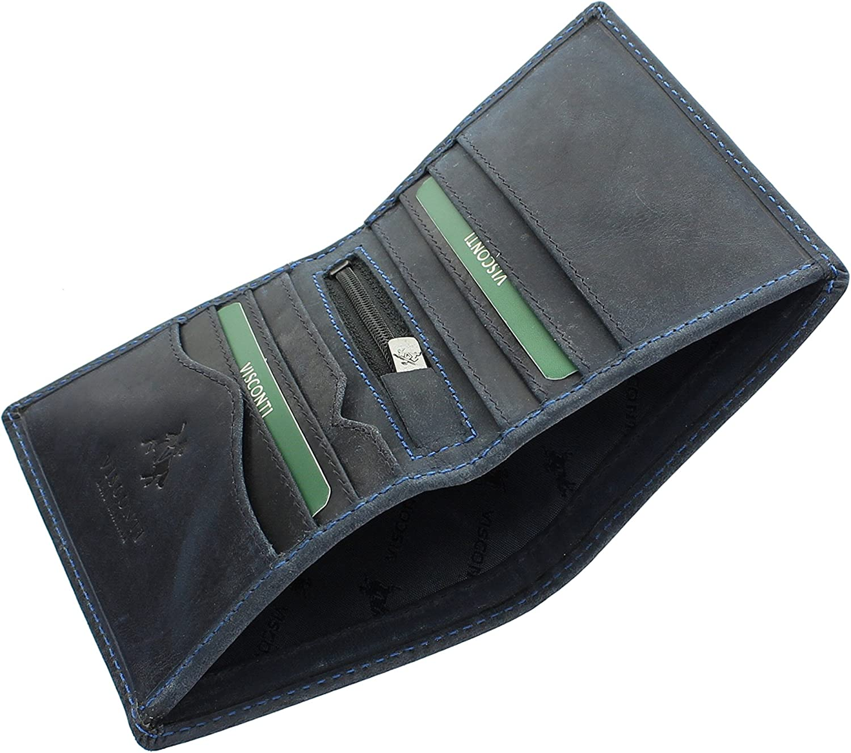 Visconti Portefeuille Compact Arrow en Cuir Huil/é RFID Blocage 705 Bleu Huile