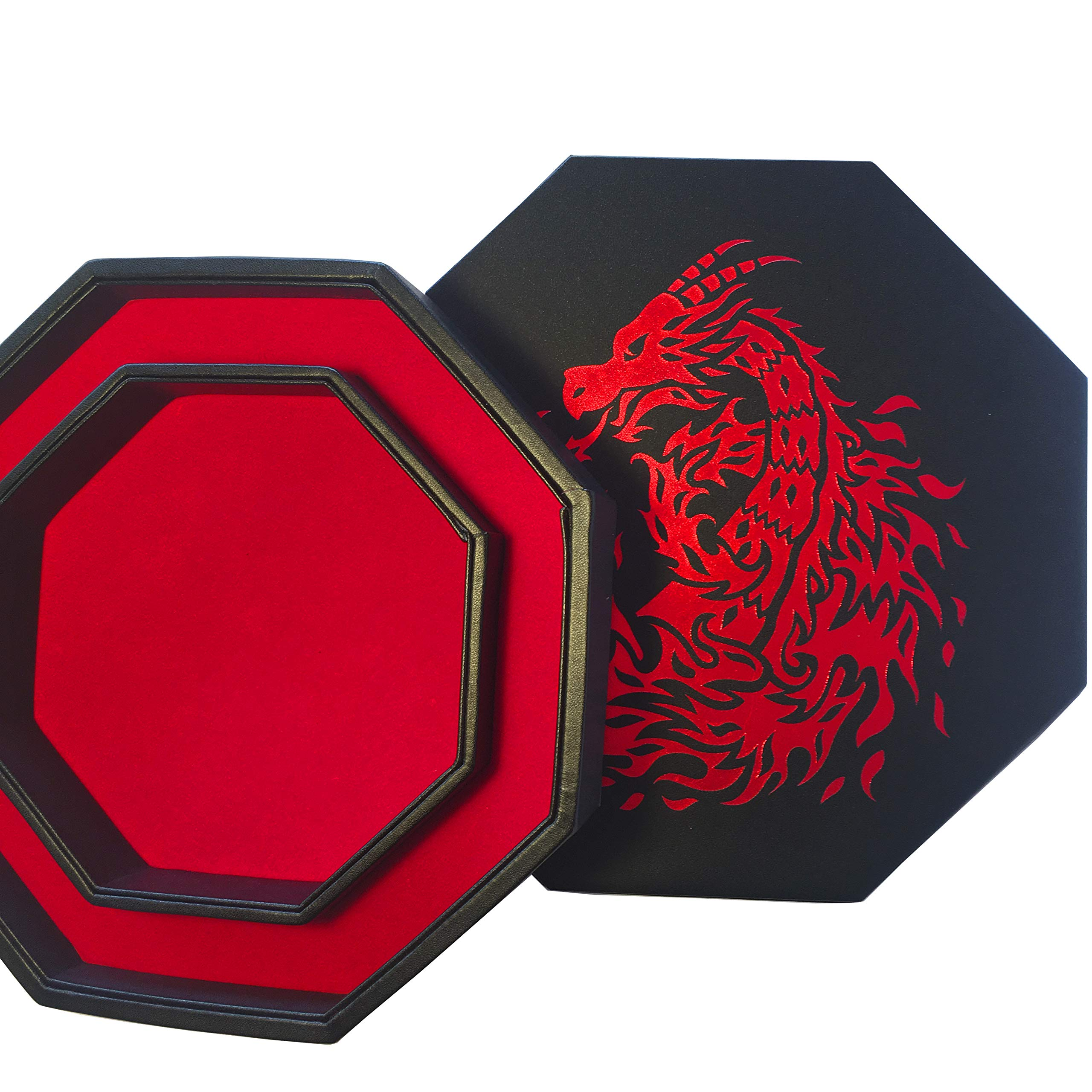 Fantasydice- RED - Fire Dragon - Dice Tray - 8'' Octagon with Lid and Dice Staging Area- Holds 5 Sets of Dice(7 / Standard) for All Tabletop RPGs Like D&D , Call of Cthulhu, Shadowrun. by Fantasydice (Image #2)
