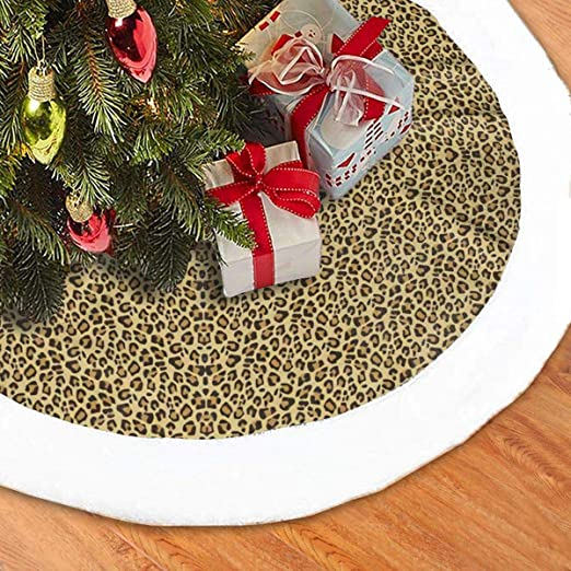 Amazon Com Christmas Tree Skirt 36 Inches Cheetah Pattern Large Xmas Skirt Rustic Xmas Tree Holiday Decorations Home Kitchen