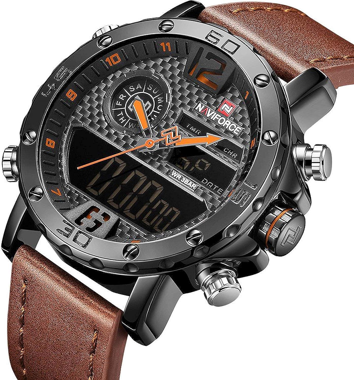 Men Sport Chronograph Watch with Date and Week Display Man Luxury Waterproof Casual Dual Display Wrist Watch