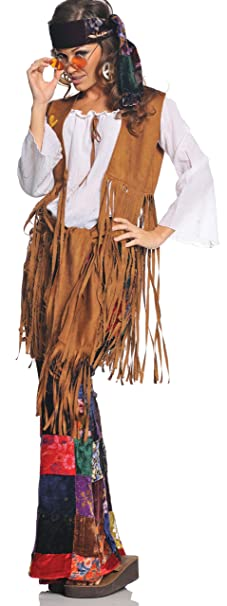 60s Costumes: Hippie, Go Go Dancer, Flower Child, Mod Style Underwraps Costumes Womens Retro Hippie Costume - Peace Out $65.29 AT vintagedancer.com