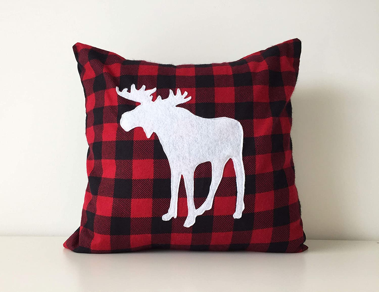 Flannel Moose Pillow Cover, Buffalo Plaid, Handmade, 16x16, Red, Black & White, Rustic Chic Decor 16x16