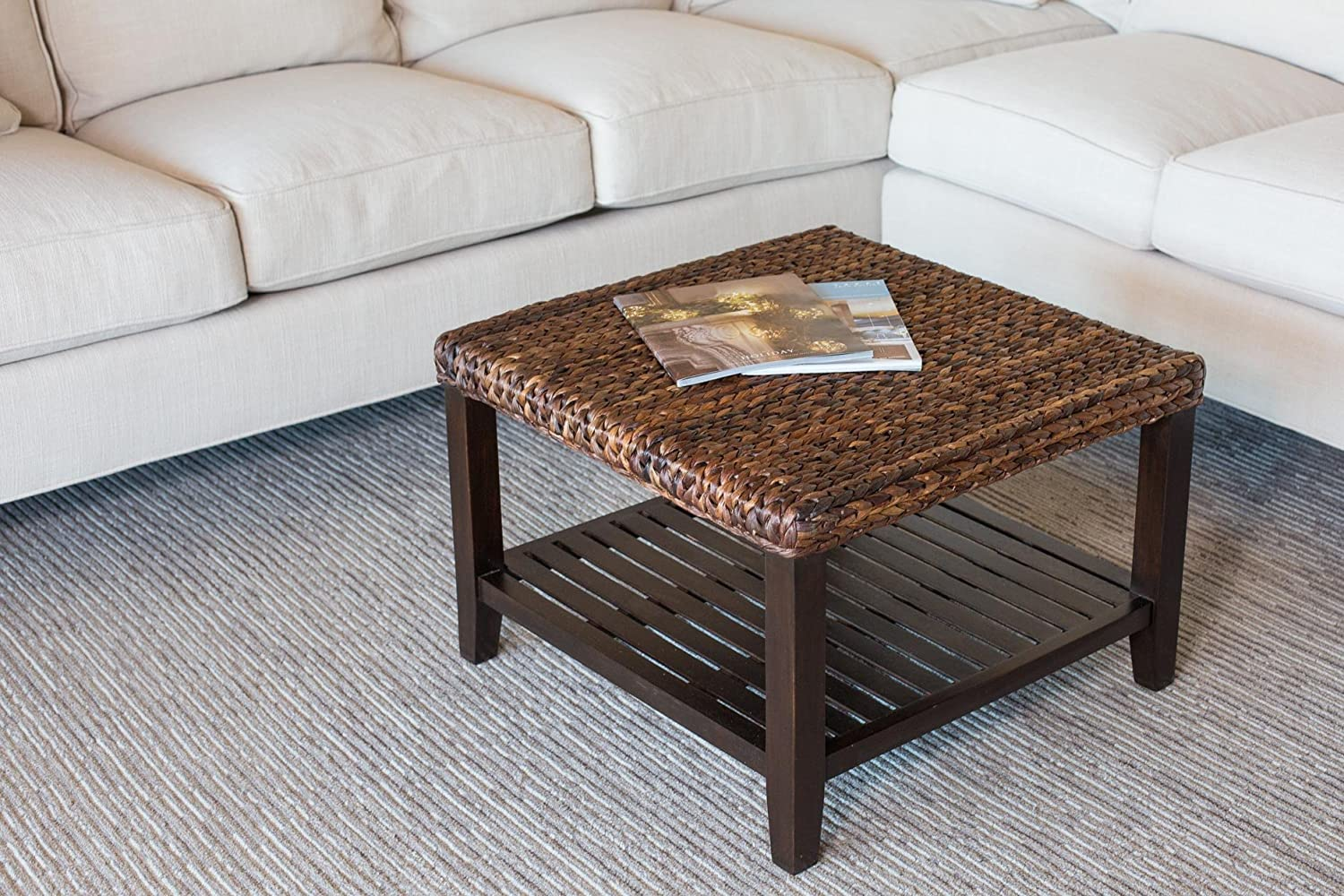 Amazoncom BirdRock Home Woven Seagrass Coffee Table Mahogany