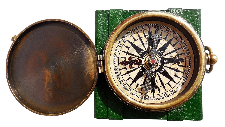 Maritime Museum Store Robert Frost Kompass Messing mit Nadel & mit Leder geprägt mit Gravur Gedicht Fall. c-3241