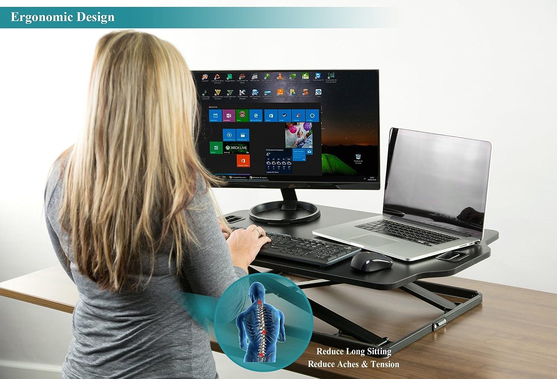 37- Schwarz Kompatibel mit Monitorhalterung Schreibtischaufsatz Steharbeitsplatz Standtisch PUTORSEN Höhenverstellbar Sitz-Steh-Schreibtisch Computertisch Tabletop Stehpult Konverter für Ergonomic Comfort