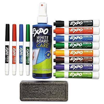 EXPO 80054 Low-Odor Dry Erase Marker Eraser & Cleaner Chisel/Fine 12/Set: Home & Kitchen