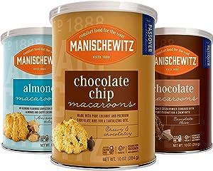 Manischewitz Macaroon Passover Gift Set - Chocolate, Almond & Chocolate Chip Seder Dessert Gluten-free (3 Canisters)