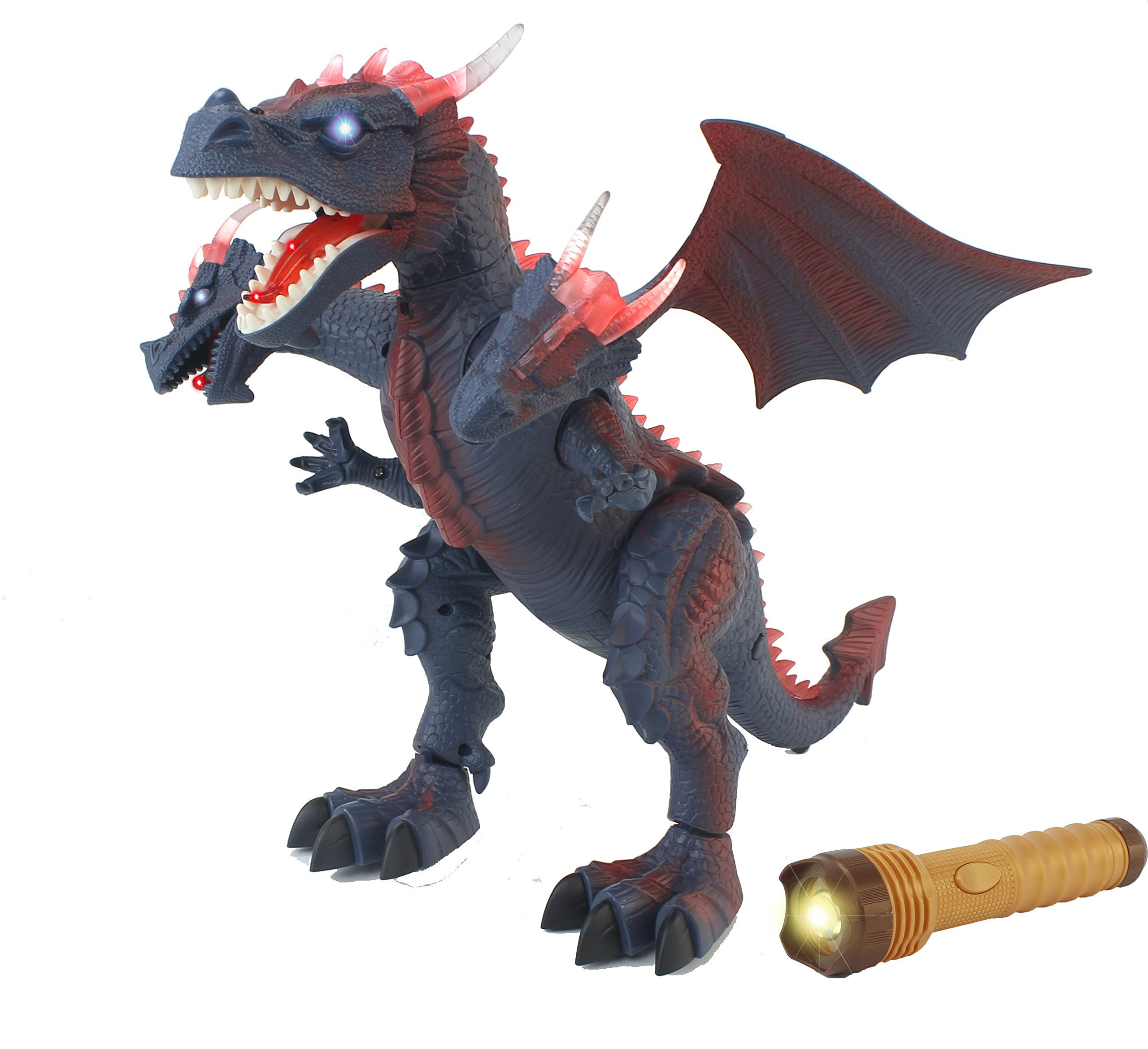 The New World of Dinosaurs Battery Operated Remote Control Toy RC Three Headed Dragon w/ Lights, Sounds, Walking/Wing/Mouth Action, & Flashlight Remote Contro by Velocity Toys (Image #1)