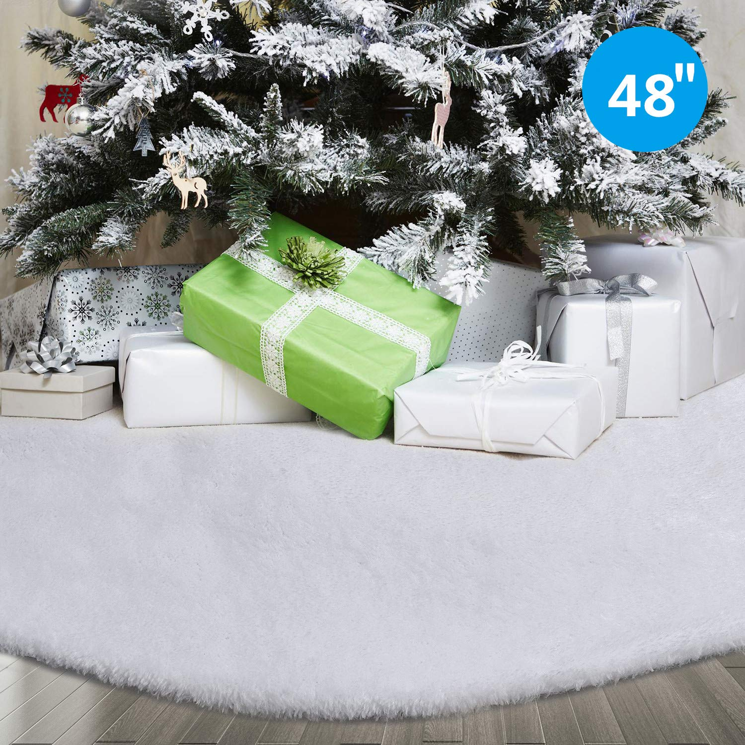 Classic Christmas Plush Tree Skirt with White Faux Fur CCBOAY 48inch Christmas Tree Skirt Perfect for Xmas Holiday Decorations New Year Party