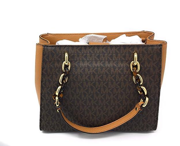 e314f8055ff4 Amazon.com  Michael Michael Kors Sofia Brown Acorn MK Signature Medium Tote  Bag  Shoes