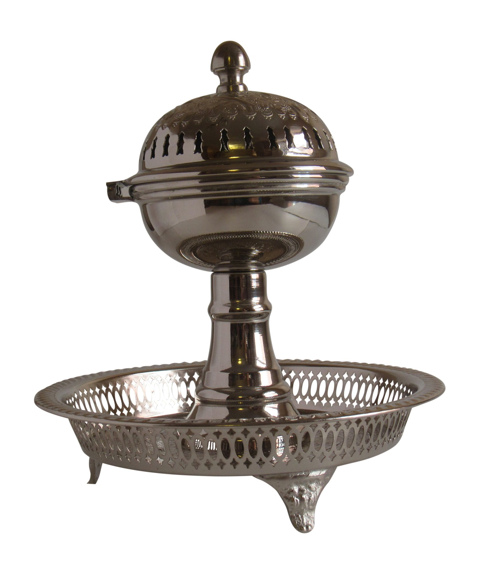 Vintage Styled Handmade Moroccan Silver Plated Engraved Incense Burner with Ash Catcher, Bring Home a Beautifully Functional Near East Tradition, 11x10''