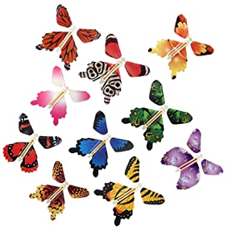 Magic Fairy Flying in The Book Butterfly Rubber Band Powered Wind Up Butterfly Toy Great Surprise Gift (10PC)