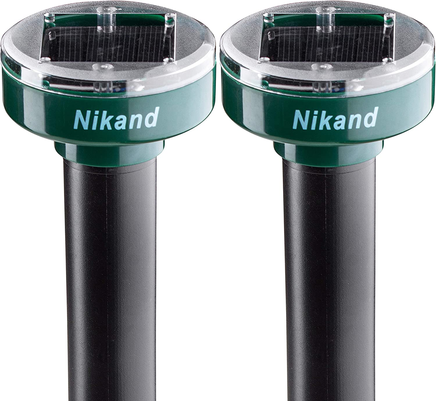 Gopher Repellent Ultrasonic Solar Powered 2 pcs - Mole Repellent Stakes Rodent Outdoor - Groundhog Repeller Snake Spike Chaser Pest Control - Sonic Mole Deterrent Pet Safe Devices