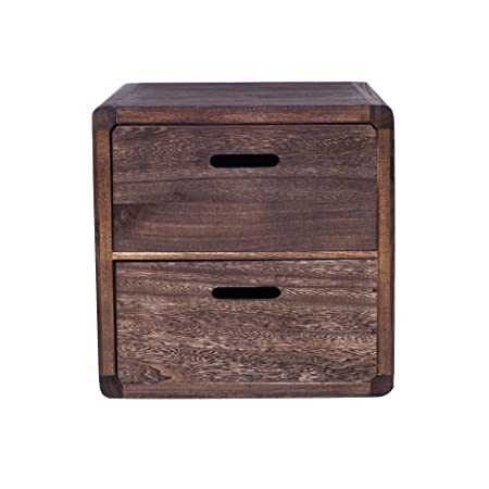 Minimalist Rebecca Srl Bedside table Cabinet 2 Drawers Dark Brown Vintage Retr² Country house Bedroom cod Minimalist - Simple Side Table for Bedroom Photos