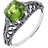 Antique Finished Sterling Silver Cushion Cut Genuine Natural Peridot Filigree Ring (1 3/5 CT.T.W)