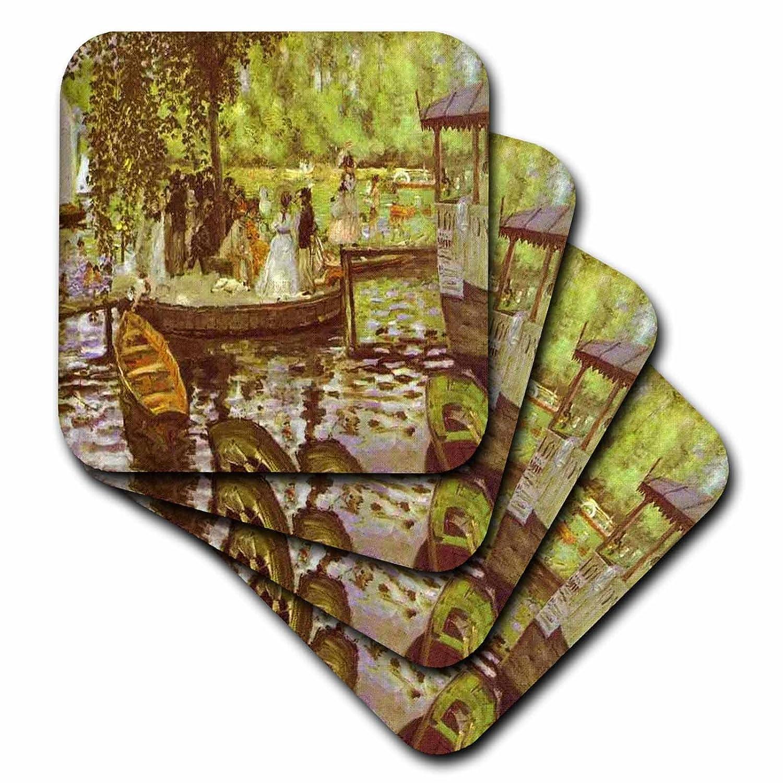 3dRose cst/_49361/_1 Renoir La Grenouillere Soft Coasters Set of 4