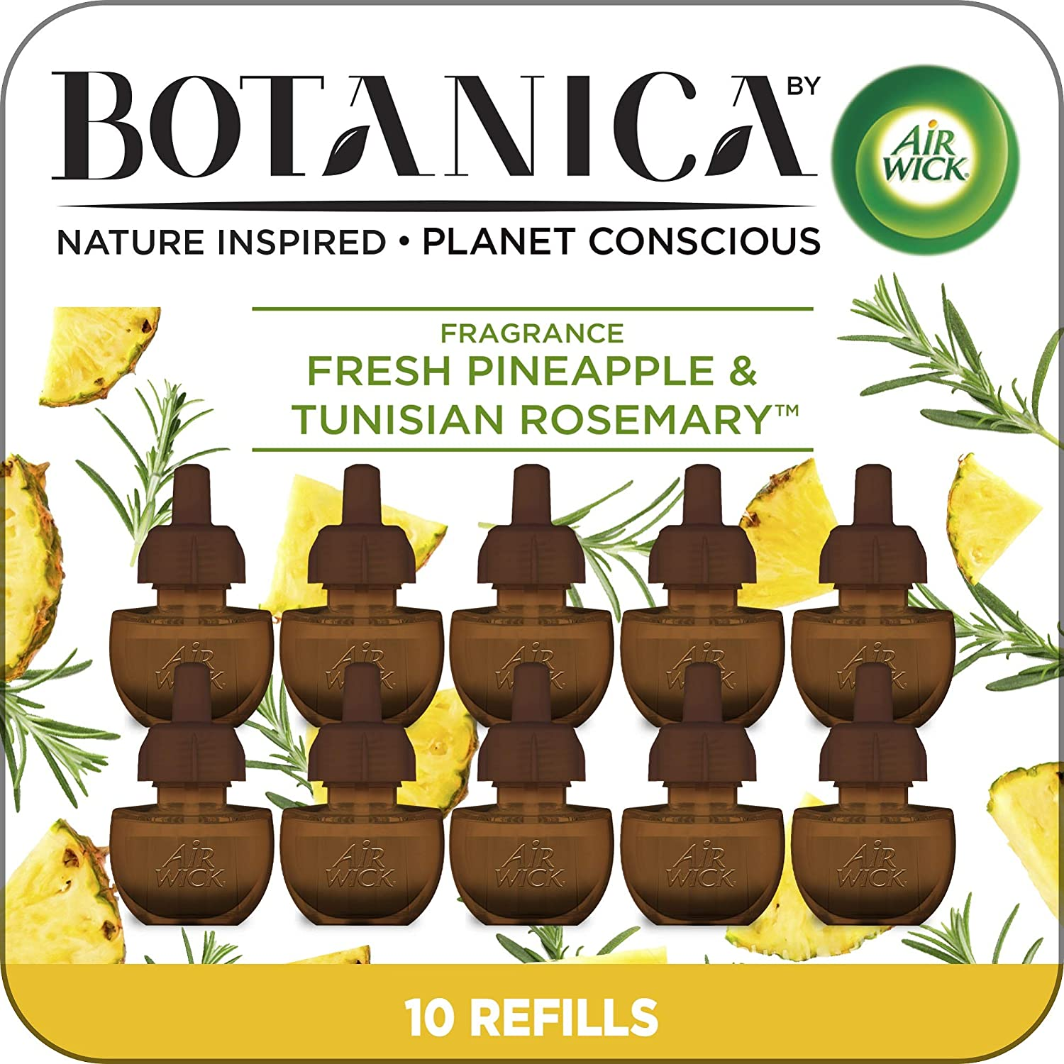 Botanica by Air Wick Plug in Scented Oil, 10 Refills, Fresh Pineapple and Tunisian Rosemary, Air Freshener, Eco Friendly, Essential Oils