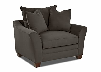 """Amazon.com: Klaussner Home Furnishings Paxton Accent Armchair 2 Throw Pillows, 44""""L x 53""""W x 31""""H, Pewter: Kitchen & Dining"""