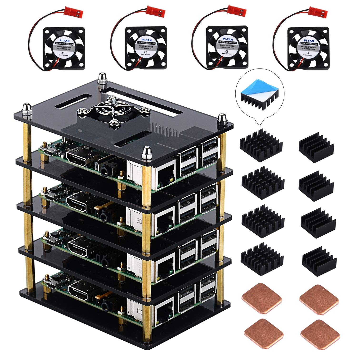 GeeekPi Raspberry Pi Cluster Case, Raspberry Pi Case with Cooling Fan and Raspberry Pi Heatsink, 4 Layers Acrylic Case Stackable Case for Raspberry Pi 3 Model B+, Raspberry Pi 3/2 Model B