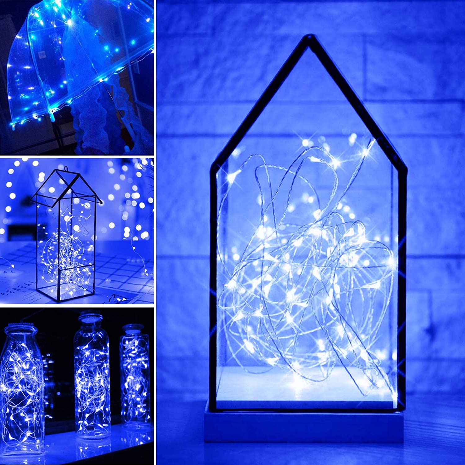 SmilingStore Starry String Fairy Lights 24 Pack Firefly Lights with 20 Micro LED on 7.2feet//2m Silver Copper Wire Battery Powered for DIY Wedding Party Centerpiece Decoration Warm White