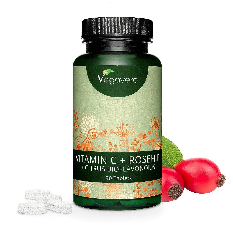 Vitamina C Vegavero® 1000 mg | 90 Comprimidos | Con BIOFLAVONOIDES + ROSA DE MOSQUETA | Vegana | Piel + Refuerza las Defensas