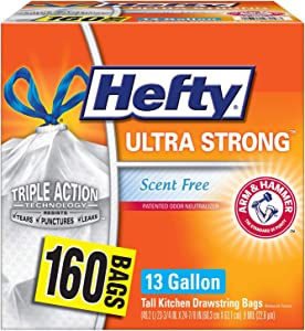 Hefty Ultra Strong Kitchen Trash Bags 13 Gal Garbage Bags, Drawstring - 160 ct