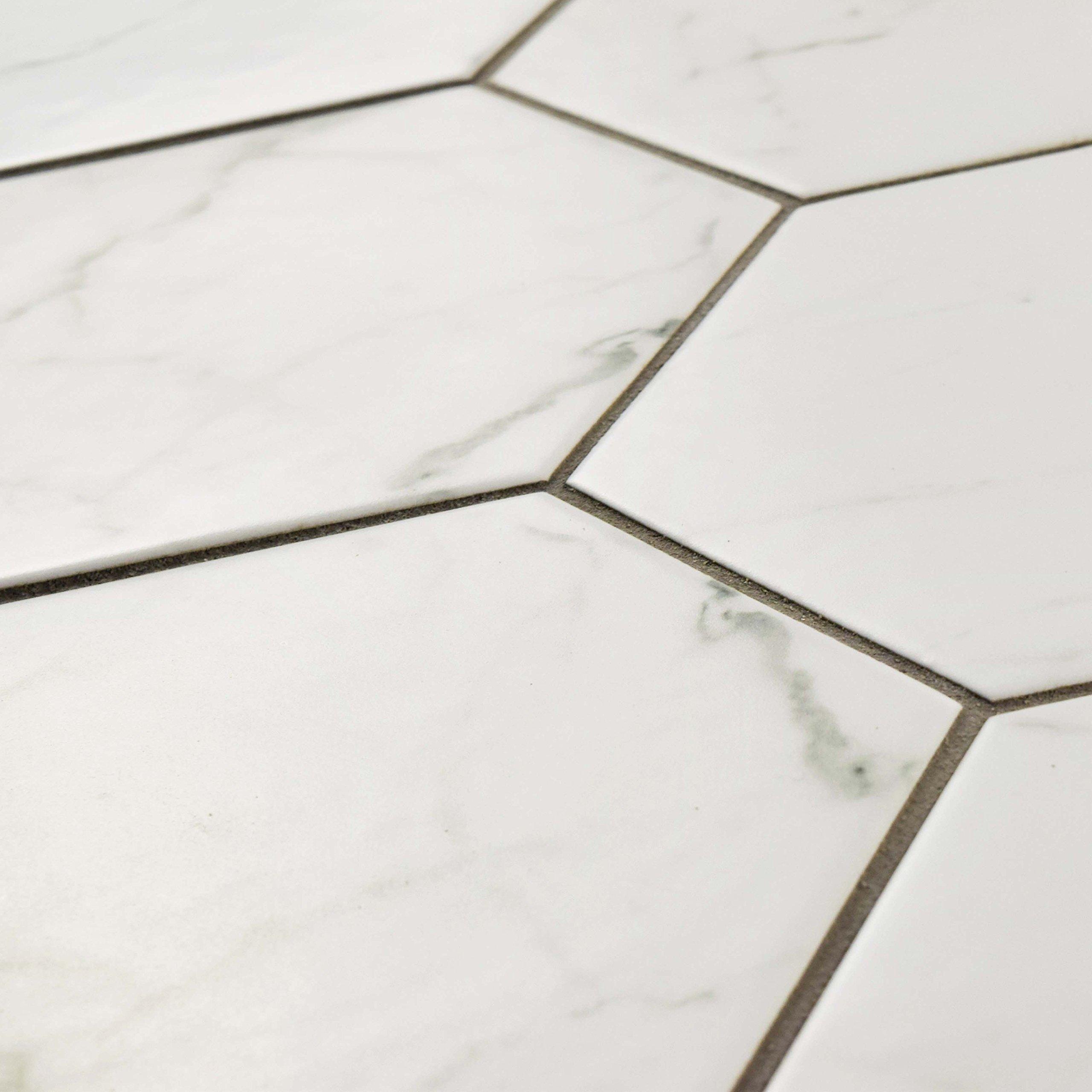 SomerTile FEQCRX Murmur Carrara Hexagon Porcelain Floor & Wall Tile, 7'' x 8'' (Pack of 25) by SOMERTILE (Image #7)