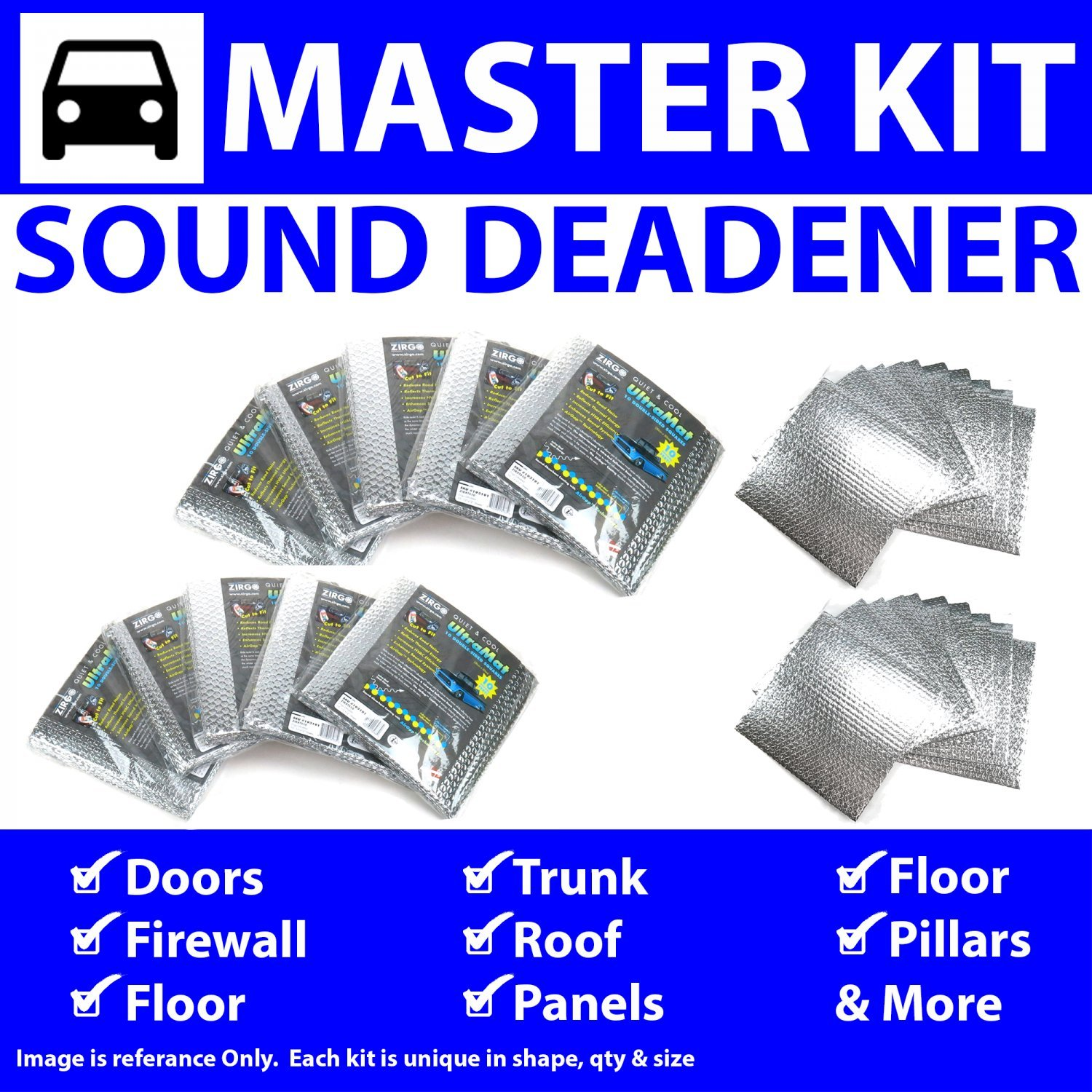 Zirgo 315124 Heat and Sound Deadener for 89-06 Mercedes ~ Master Kit