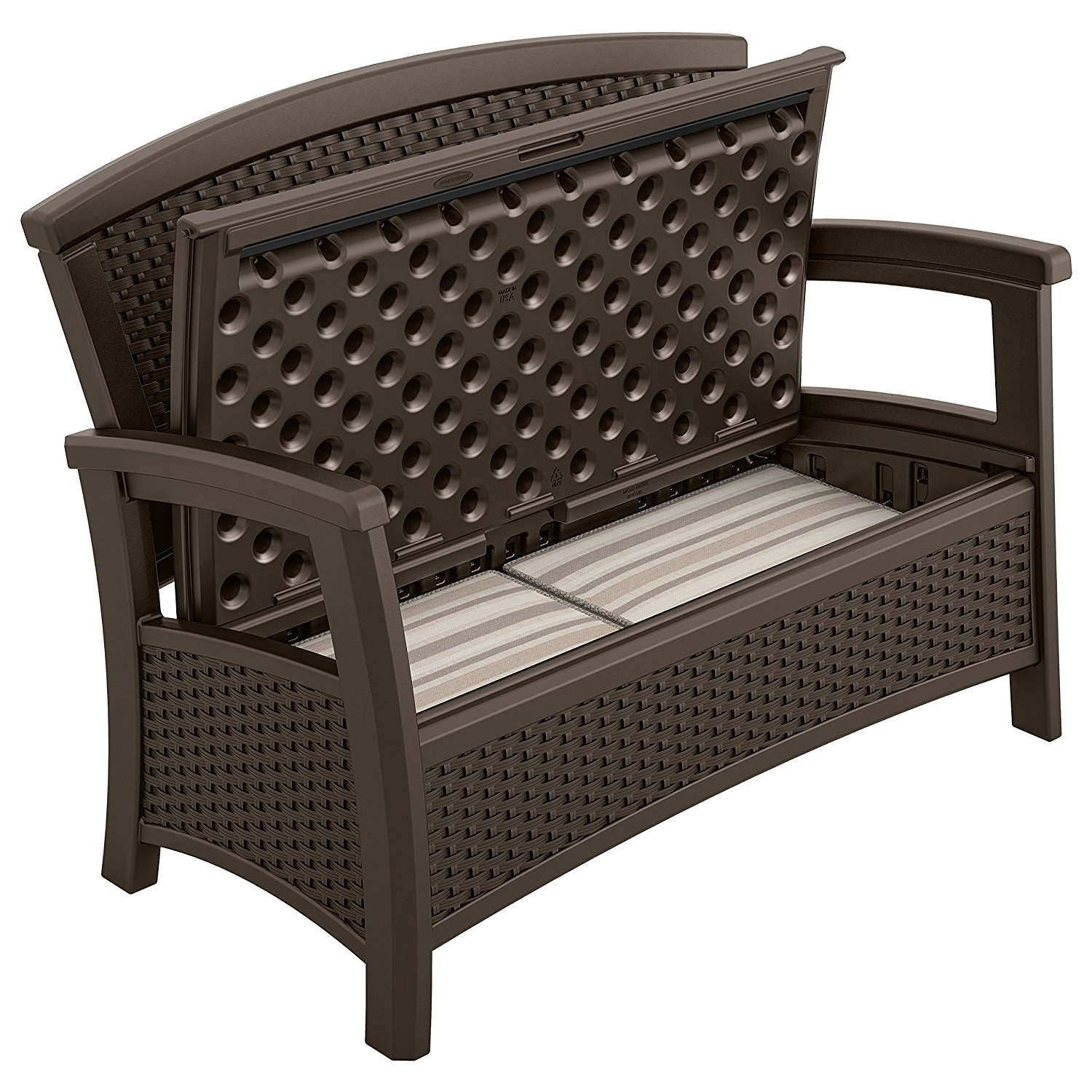 Suncast Elements Loveseat with Storage - Lightweight, Resin, All-Weather  Outdoor Loveseat Chair - Wicker Patio Decor with Built in Storage Capacity  up ...