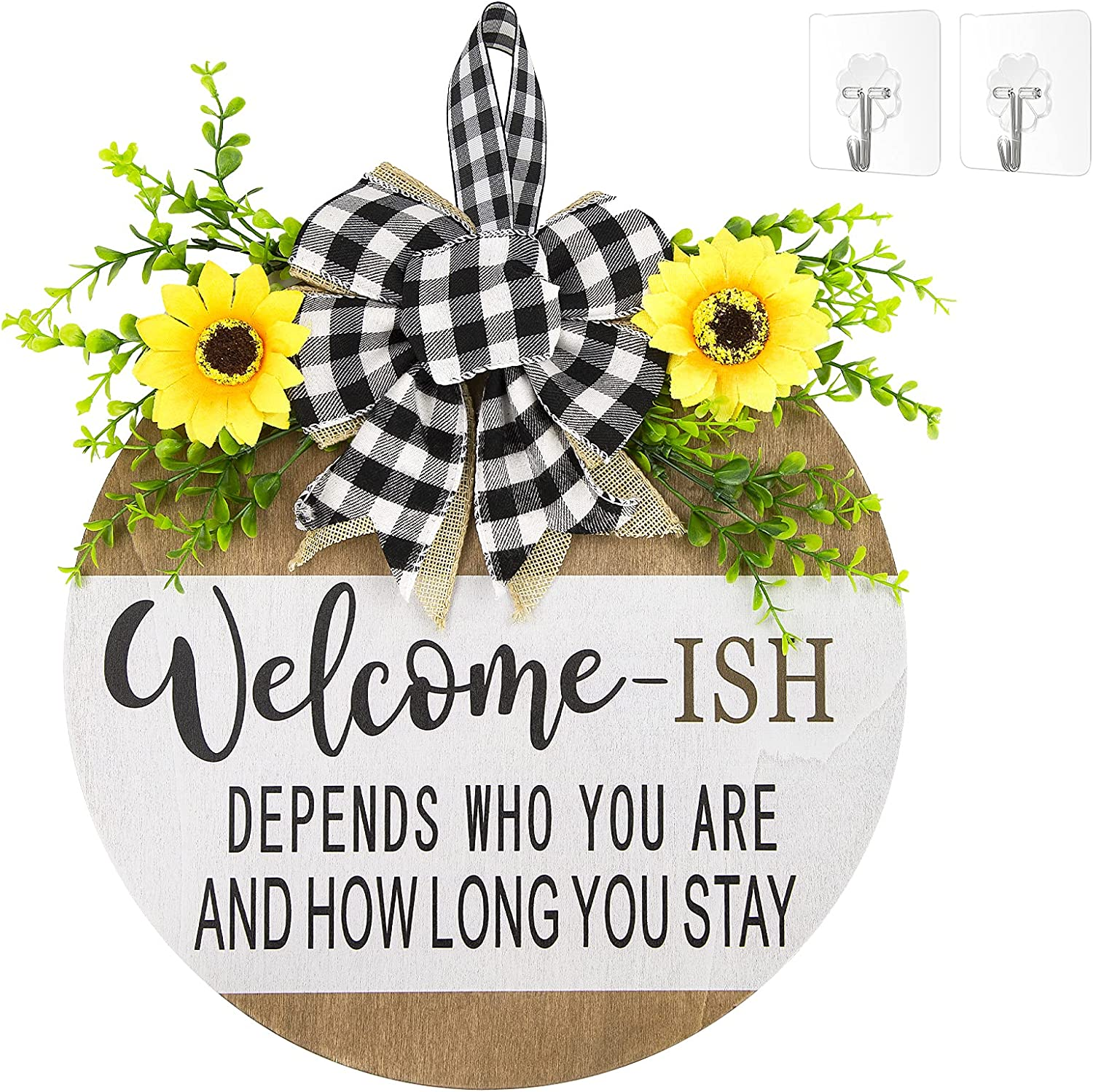 Welcome Sign Front Door Decor,Restaurant,home,outdoor,porch/home decoration,Wood 12Inch,New Year,Christmas, Easter,Housewarming Gifts (white)