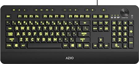Azio Teclado USB Retroiluminado Vision con Teclas De Letra Grande Y 5 Colores De Retroiluminación Intercambiables Kb506