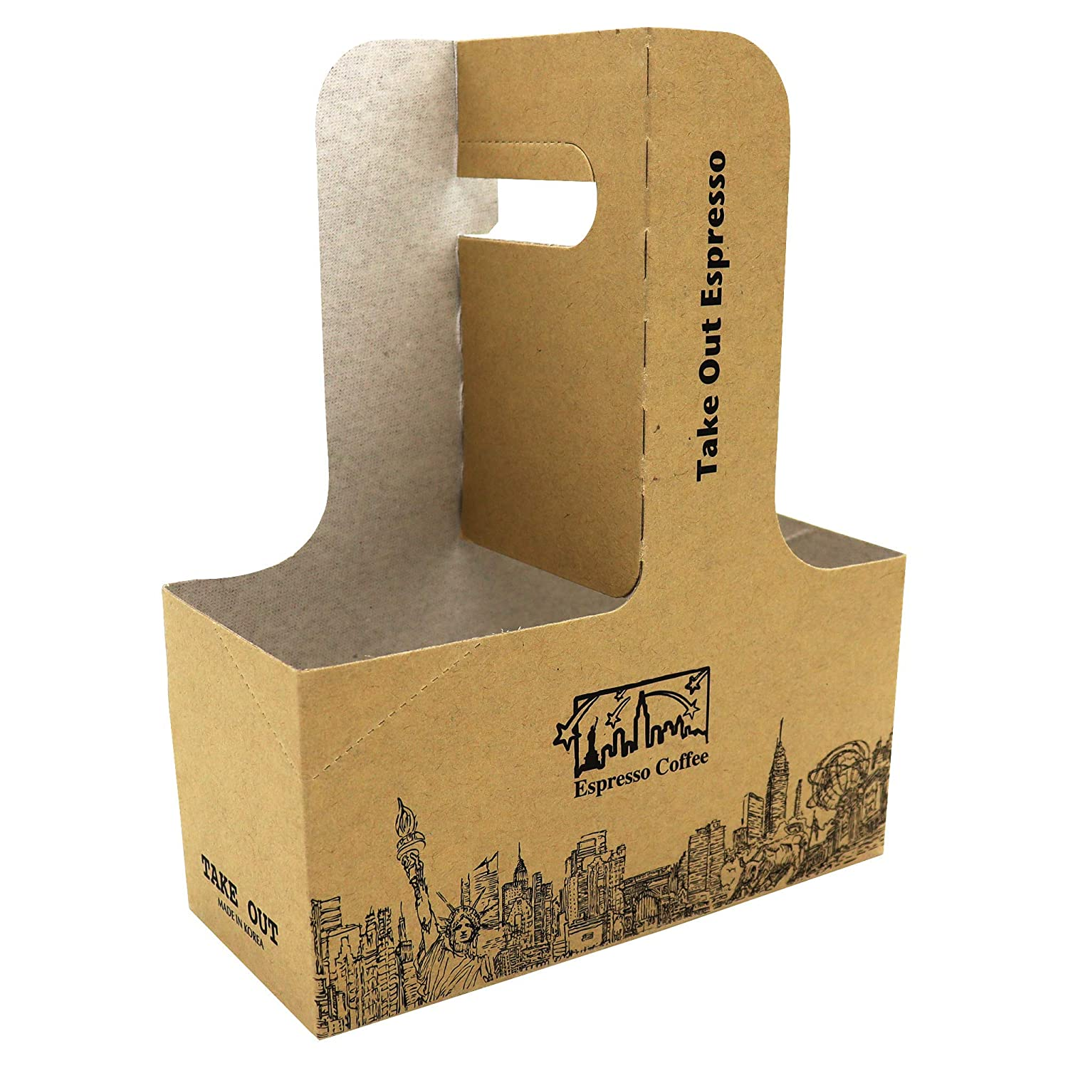 15 Piece Professional Kraft Paperboard Drink Carrier with Handle, Hold 2 Cups, Available from 8 oz to 20 oz (4, 6.88