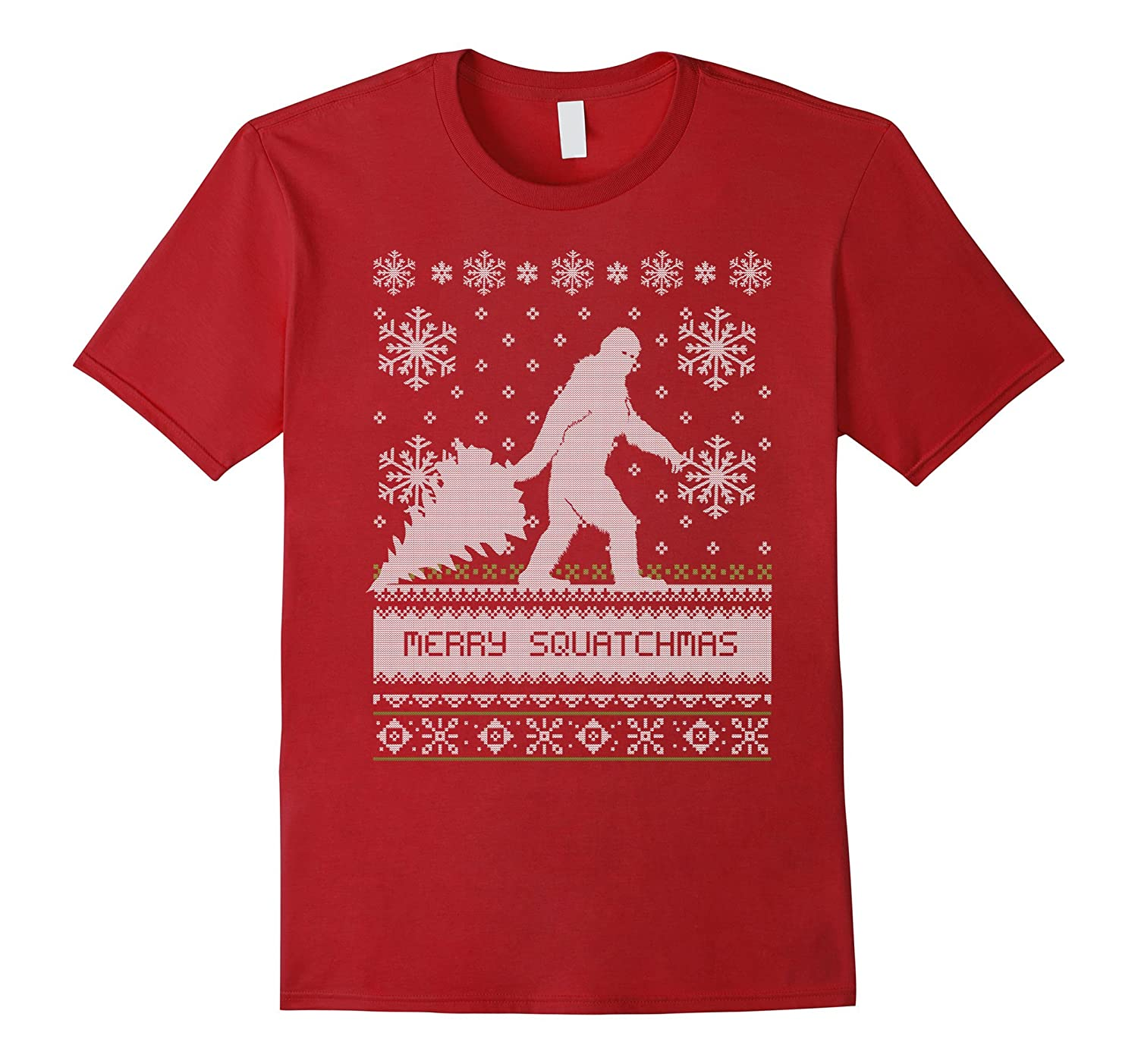 Ugly Sweater Merry Squatchmas Big Foot Holiday T-Shirt-T-Shirt