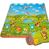 """Baby Play Mat Extra Thick 0.8"""" Rug by BMyBaby - Portable Kids Play Mat and Foam Floor Gym with Beautiful Graphics and Adorable Animal Friends - Portable for Outdoor or Indoor Use"""