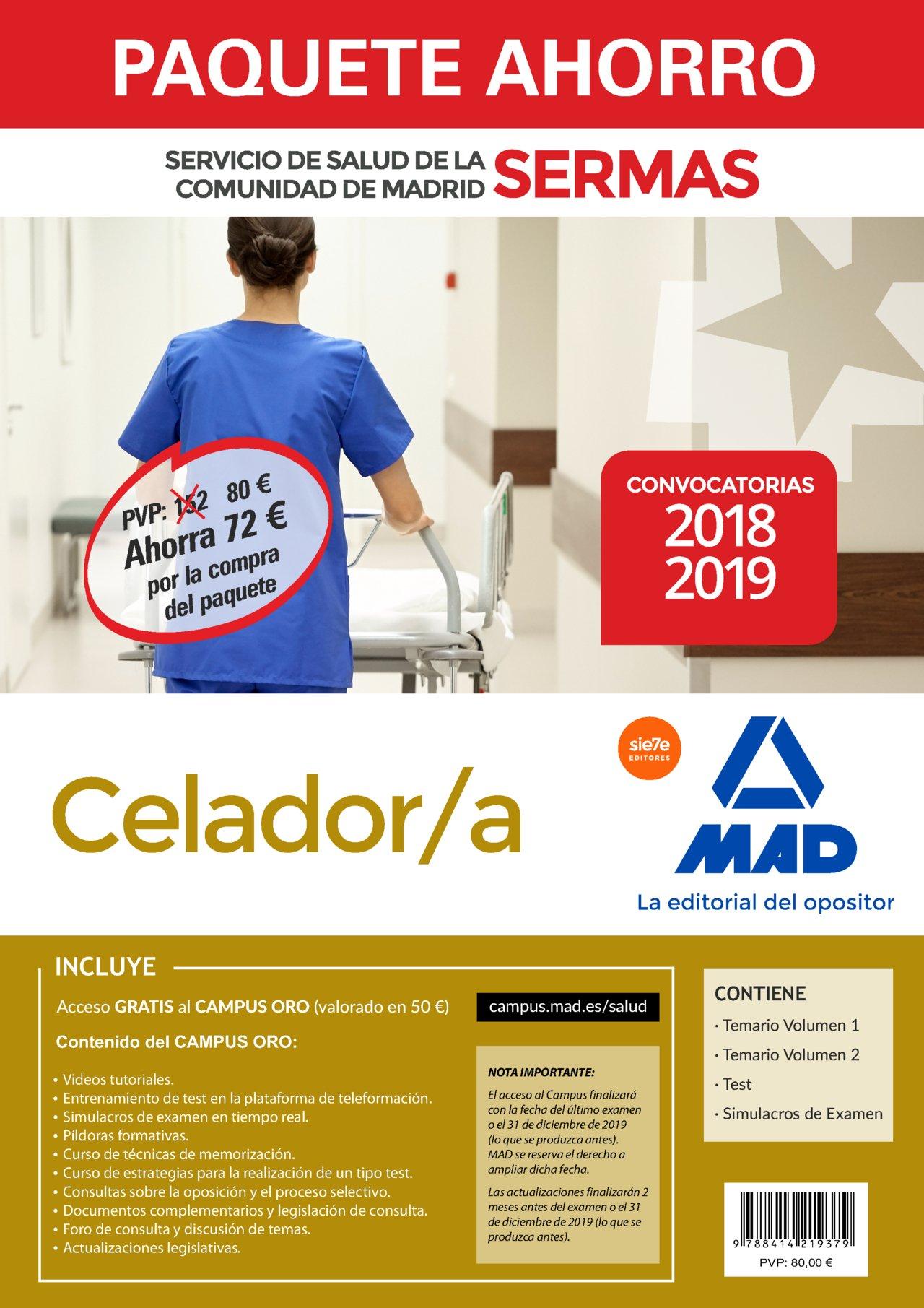 Paquete Ahorro Celador/a Servicio de Salud de la Comunidad de Madrid. Ahorro de 72 € incluye Temarios 1 y 2; Test; Simulacros de Examen y acceso a Campus ...
