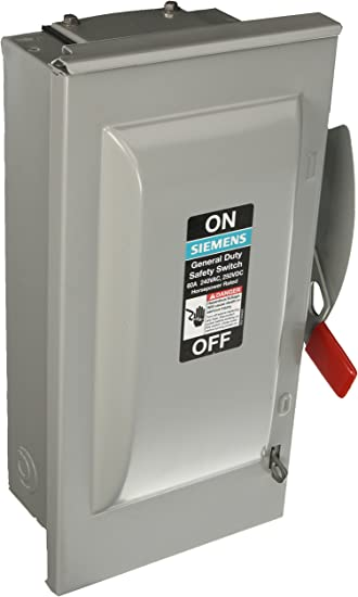 4 Wire 240-Volt 3 Pole Fused SIEMENS GF323NR 100 Amp Outdoor Rated General Duty