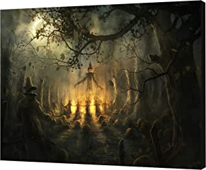 NAN Wind One Piece Scary Halloween Decoration Wall Art Dark Forest Halloween Witch Wall Decorations Festive Decorations Poster Paintings on Canvas Stretched and Framed Ready to Hang for Home Decor