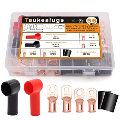 56PCS Battery Terminal Connectors Boots Cover,AWG6-4 3/8 5/16inch Crimp Copper Wire Ring lugs Cable Ends with Adhesive Lined Heat Shrink Tube Assortment Kit: Car Electronics