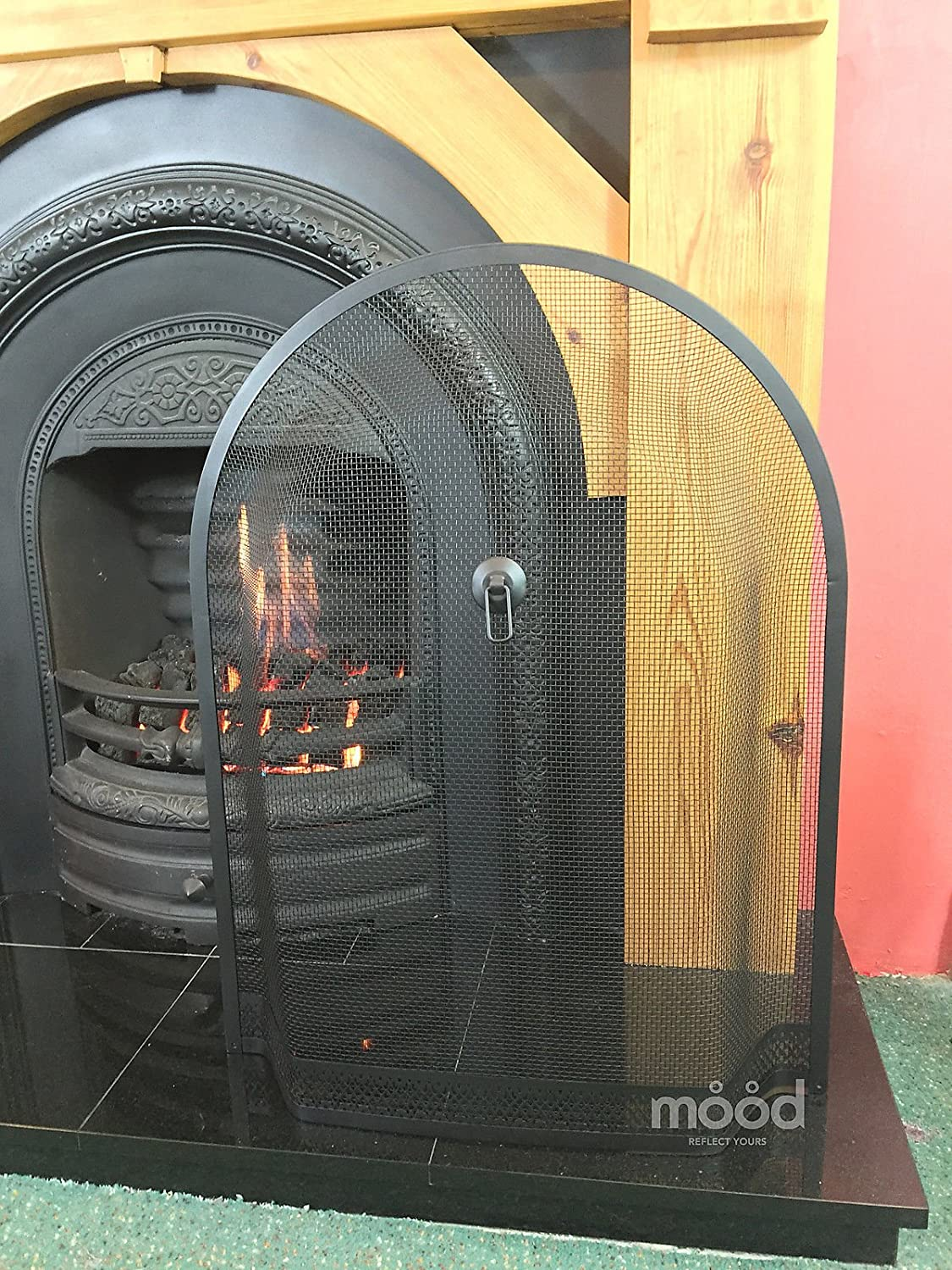 Crannog Arch Fire Guard//Spark Guard Screen for Lombard Sorrento Curve Top Fireplace 28 x 21 from