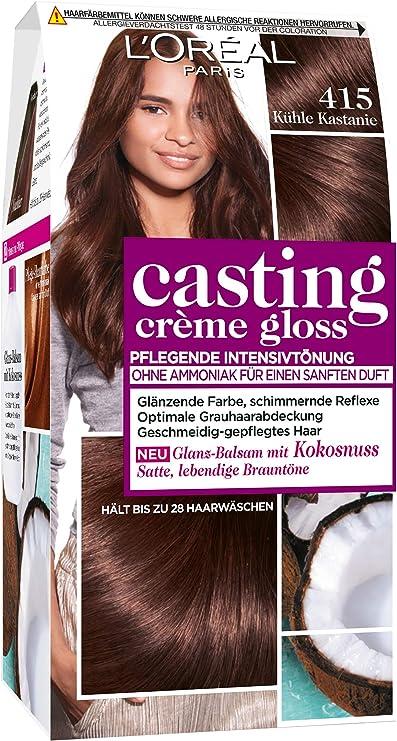 LOréal Paris casting Creme Gloss color de cabello cuidado de 415 fresca de la castaña, Paquete 1er (1 x 1 pieza)