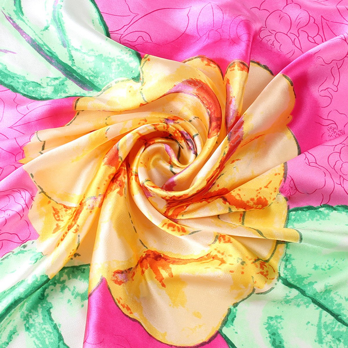 Elegant Chinoiserie Flower Print Neck Square Scarf Headband