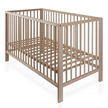 Babybett Gitterbett BUCHE NATUR Kinderbett mit Lattenrost 120 x 60 ...