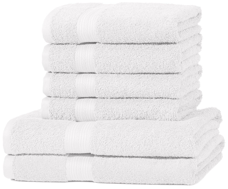 AmazonBasics - Juego de toallas (colores resistentes, 2 toallas de baño y 4 toallas de manos), color blanco: Amazon.es: Hogar