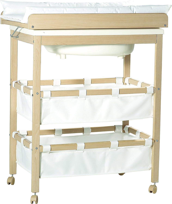 Combinacion bañera cambiador roba 'Baby Pool', bañera con cambiador encima plegable,  en madera natural, colchoneta del cambiador en blanco